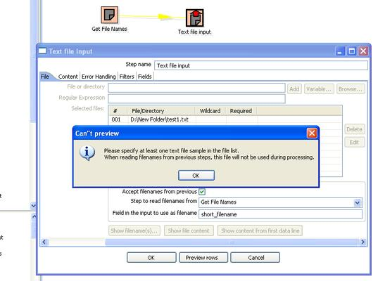 Error: Accept File Names from Previous Step