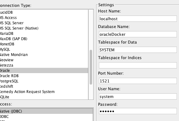 Set up Oracle datasource when Oracle is in a Docker container